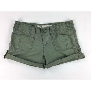 Hollister Girls 5 Green Shorts Cotton Cuffs